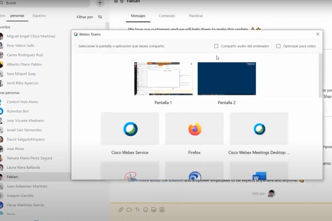 Compartir Contenido con Equipos Cisco Webex