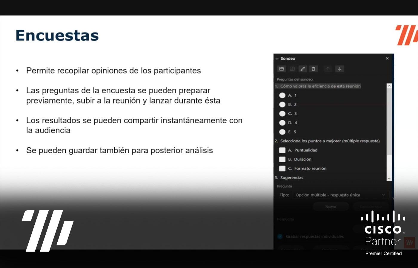 Funcionalidades avanzadas de Webex: encuestas