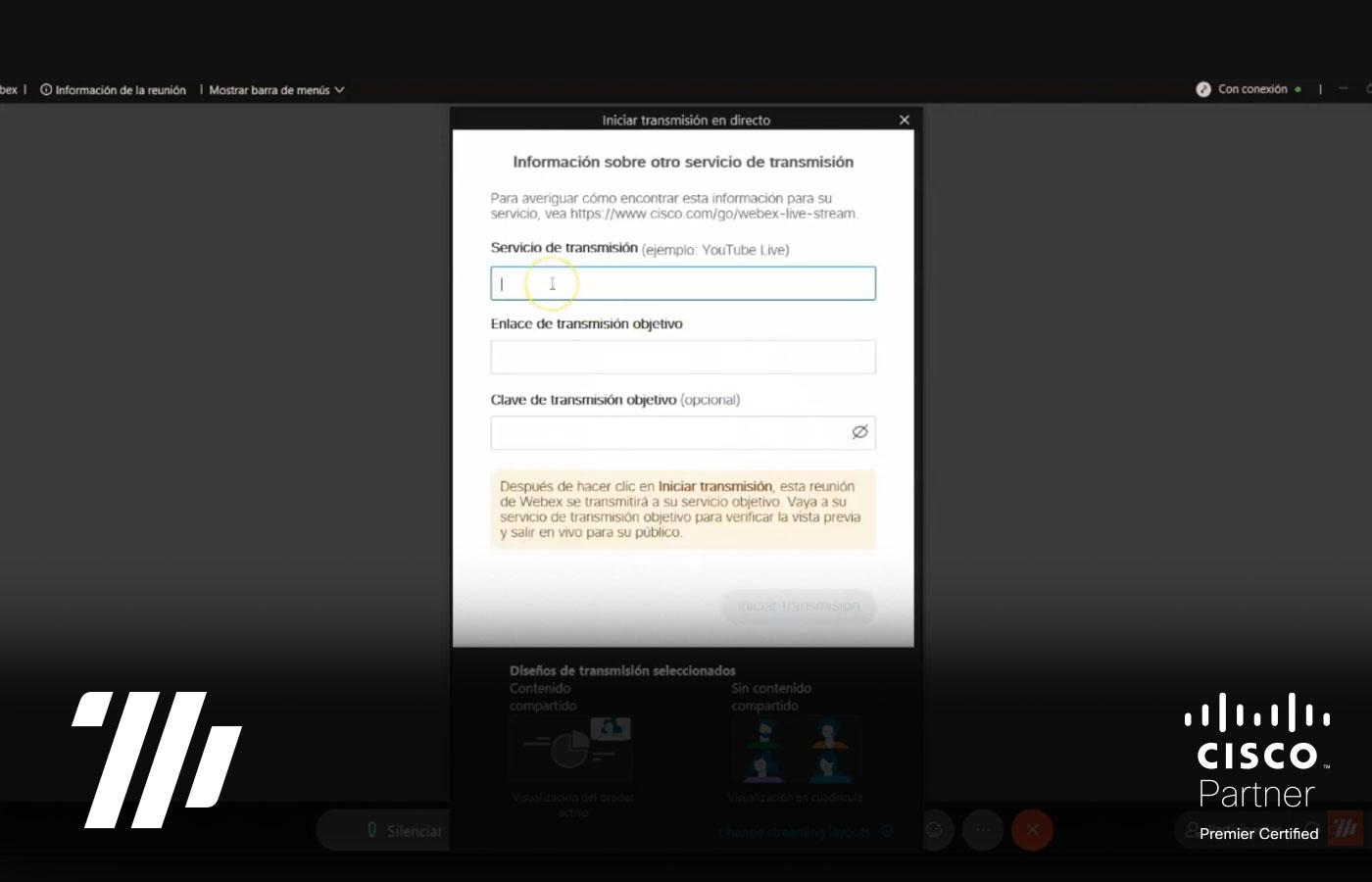 Funcionalidades Avanzadas de Webex: Streaming
